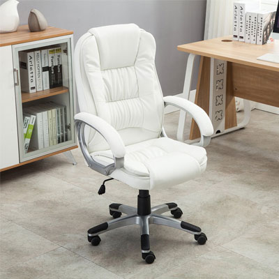 Bellezza-Ergonomic-Office-PU-Leather-Chair-Executive-Computer-Hydraulic,-White