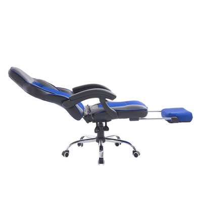HomCom-Race-Car-Style-High-Back-PU-Leather-Reclining-Office-Chair-with-Footrest---Blue-and-Black