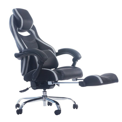 #6 Merax Racing Style Executive PU Leather Swivel Chair with Footrest and Back Support Reclining (Gray)  sc 1 st  Best Office Chair : reclining office chairs with footrest - islam-shia.org