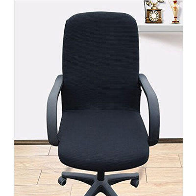 1 Shihualine Tm Office Slipcovers Cloth Chair Pads Removable Cover Stretch Cushion Resilient Fabric Black