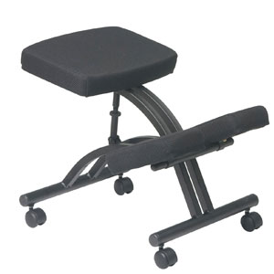 Office-Star-Ergonomically-Designed-Knee-Chair-with-Casters,-Memory-Foam-and-Black-Metal-Base-Black