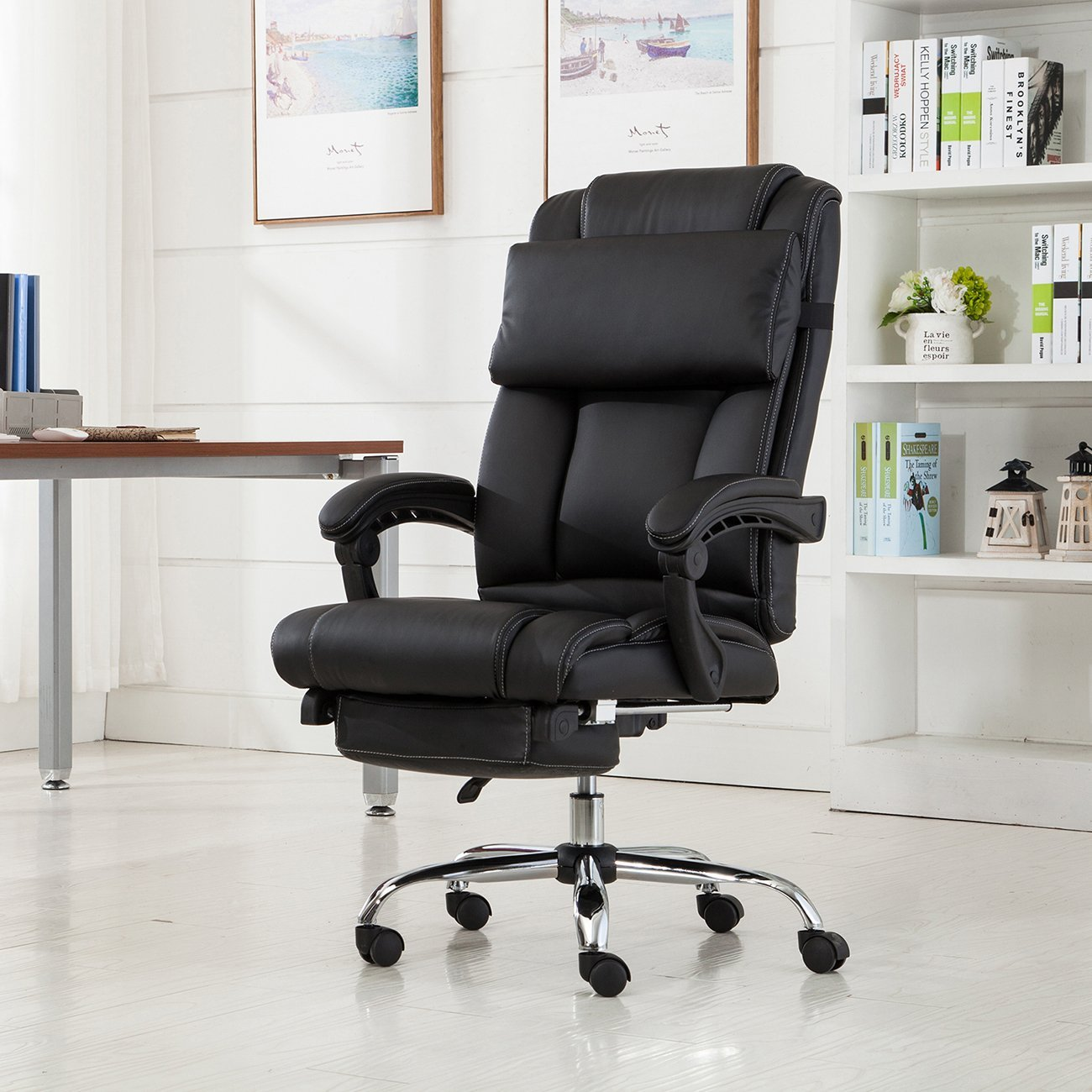 reclining recliner luxury computer sentinel point massage foxhunter var itm leather swivel office chair