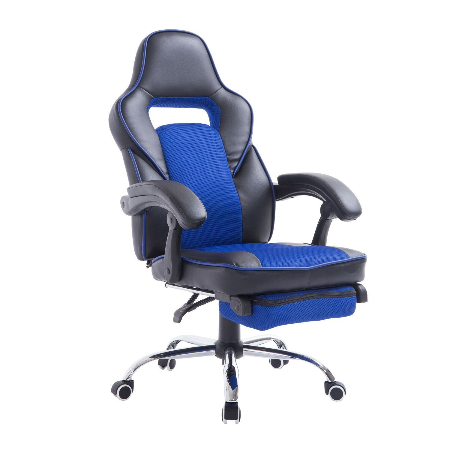 office reclining chair. HomCom Race Car Style High Back PU Leather Reclining Office Chair With Footrest - Blue And R