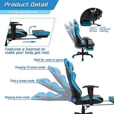 Furmax-gaming-chair-high-back-racing-chair---multiple-adjustments