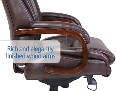 La-Z-Boy-Edmonton-leather-office-chair-finished-wood-arms