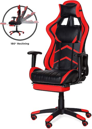 Pink Gaming Chair Ergonomic Racing Bizzoelife High Back PU Leather Adjustable Swivel Office Executive Task Chair with Footrest Backrest Headrest